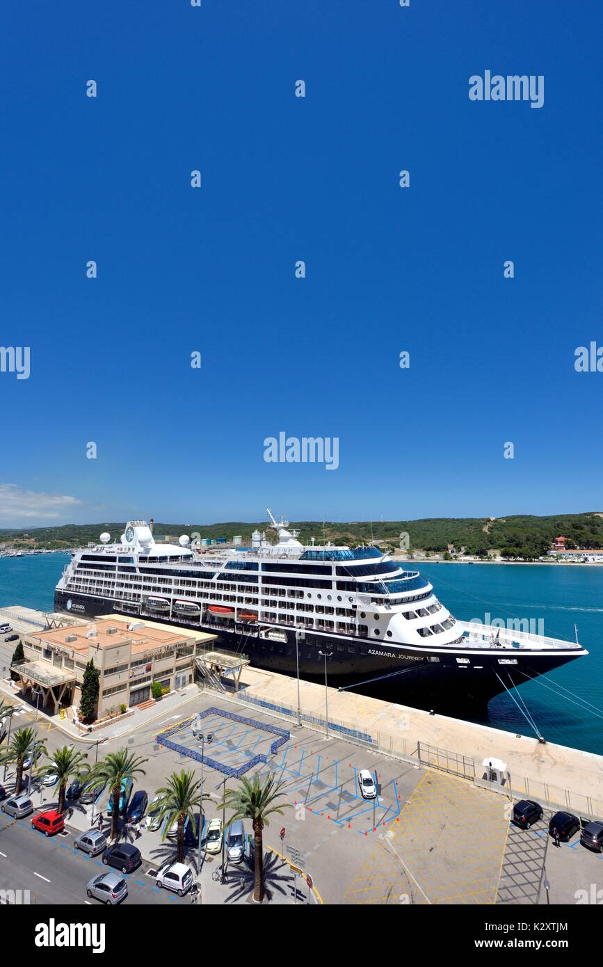 Azamara Journey R-class cruise ship Mahon Menorca Minorca Spain - Stock Image