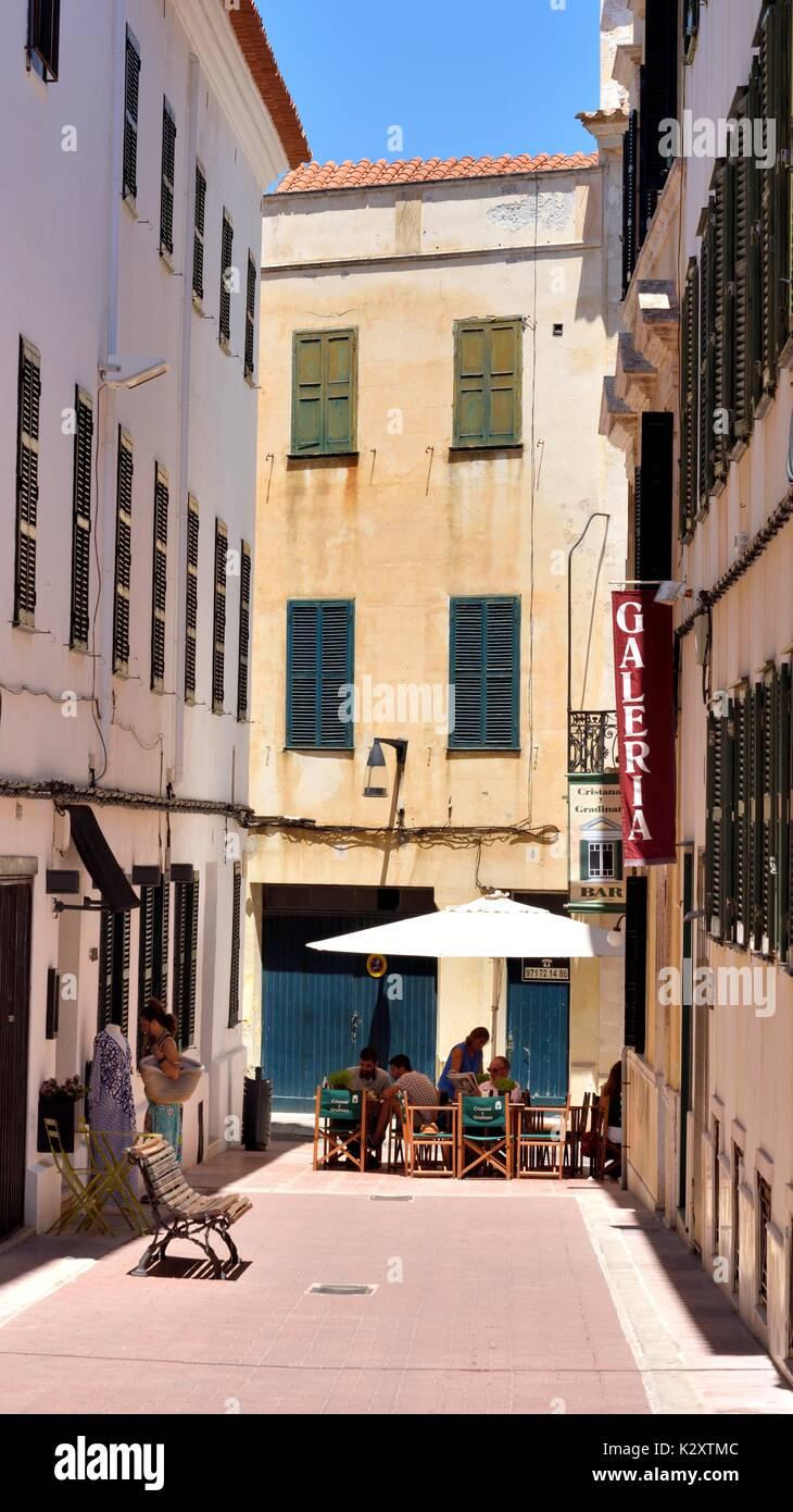 Street cafe restaurant restaurants mahon menorca minorca - Stock Image