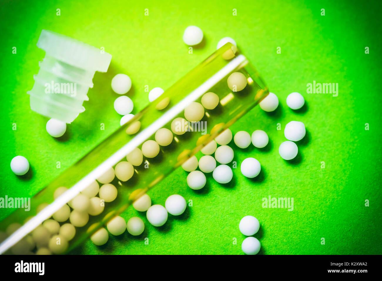 Globuli, homoeopathic medicament, homoeopathisches Arzneimittel Stock Photo