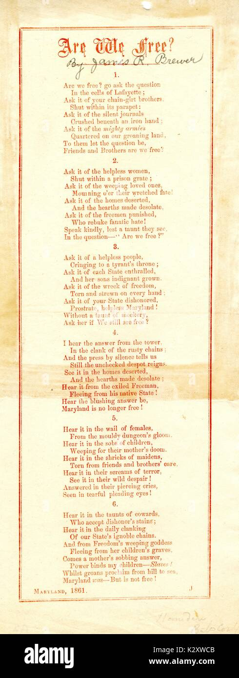 Broadside from the American Civil war, entitled 'Are we Free?', describing the many people imprisoned or otherwise oppressed by the war, Maryland. 1861. - Stock Image