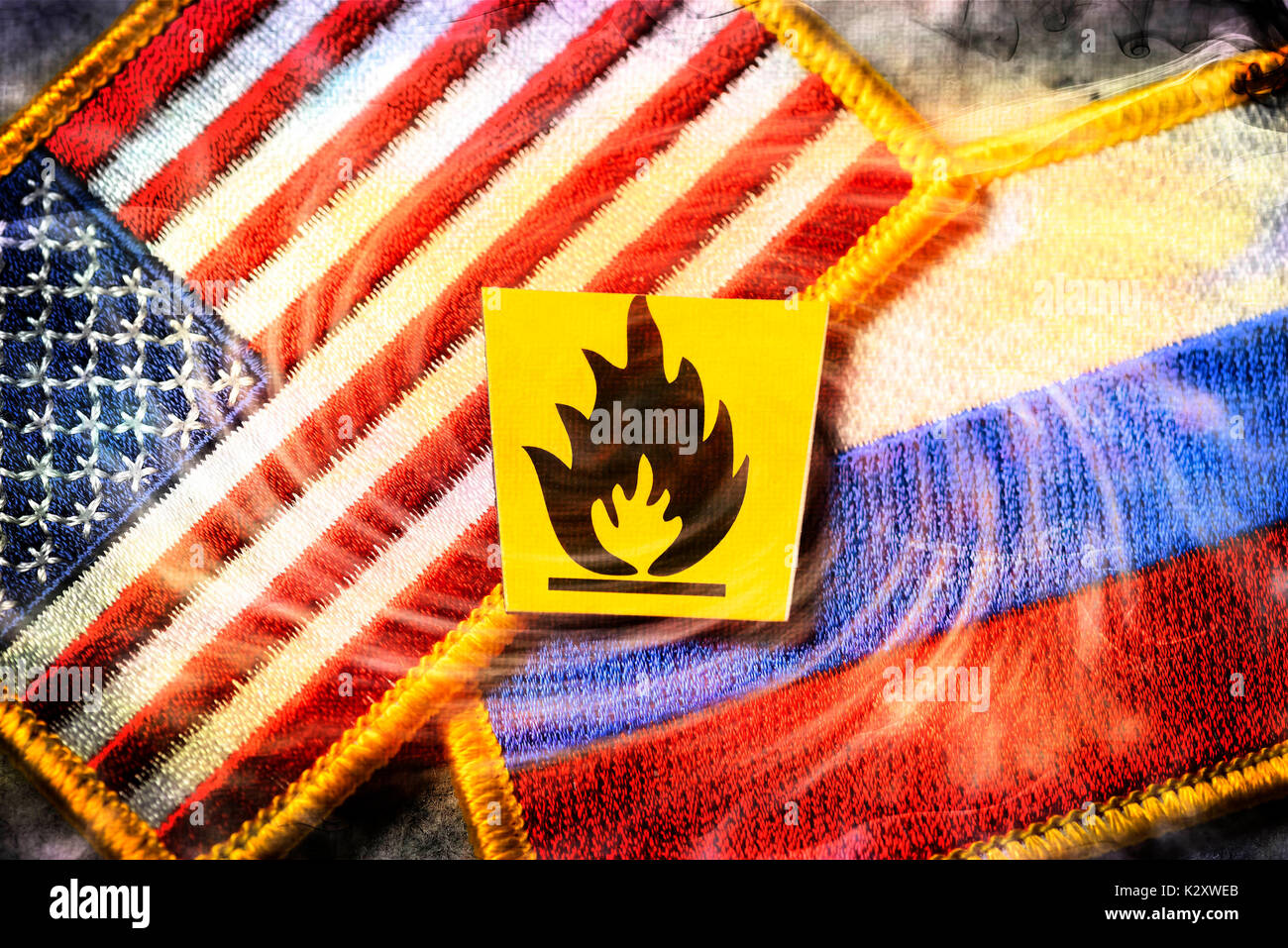 Flags of the USA and Russia with danger sign, danger of a commercial war between the superpowers, Fahnen von den Stock Photo