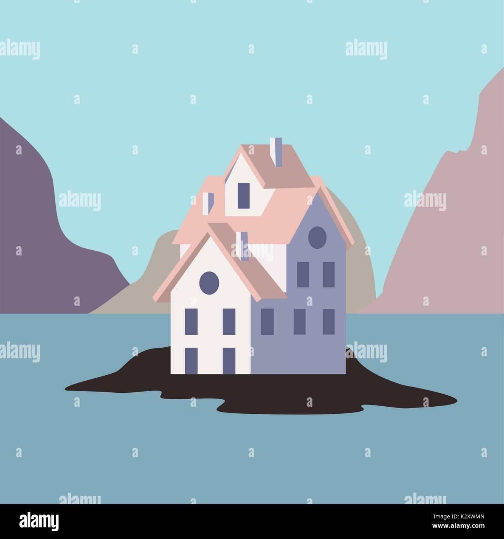House by the ocean. - Stock Vector