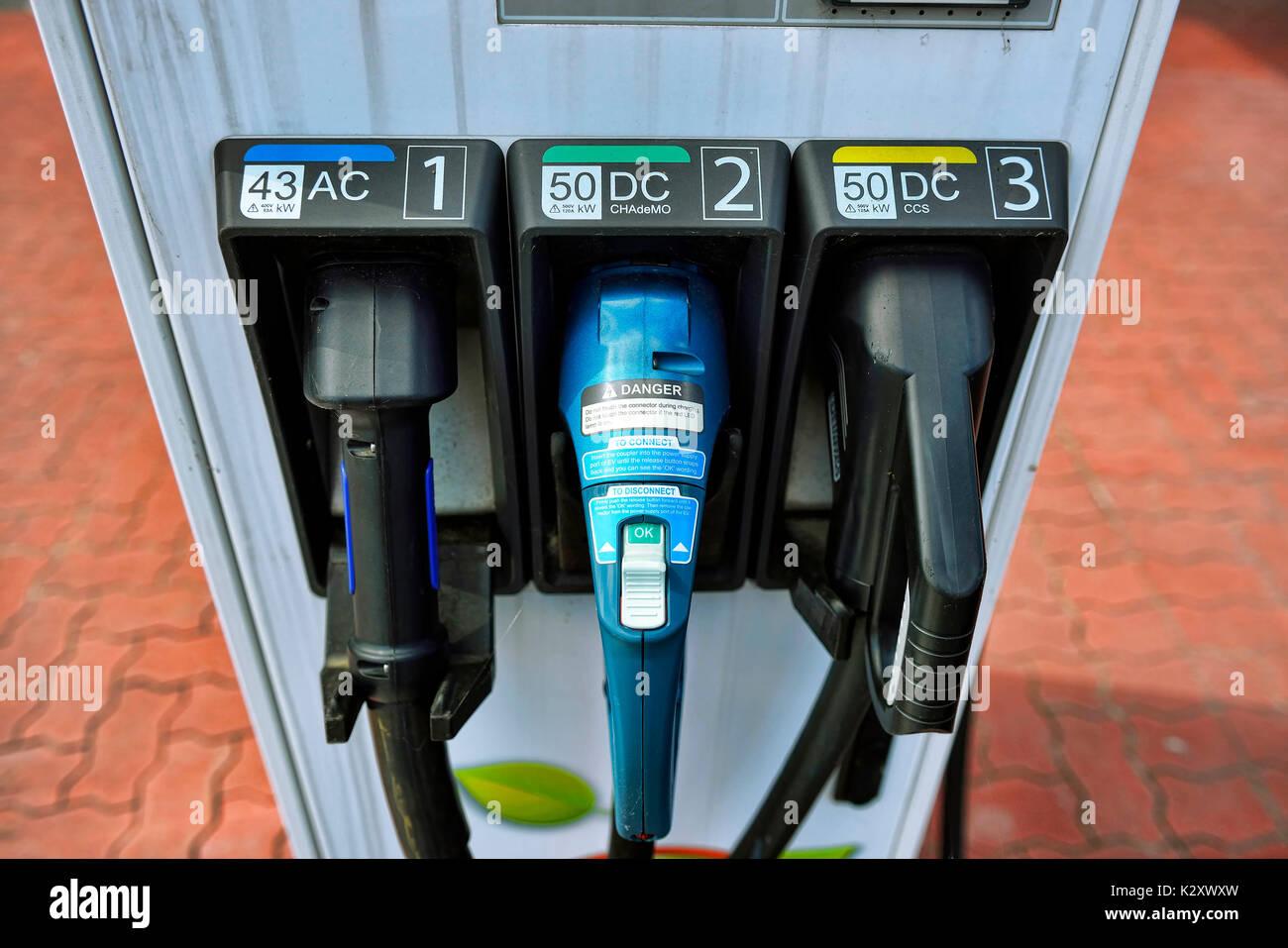 Aufladestation for electric cars, Aufladestation fuer Elektroautos - Stock Image