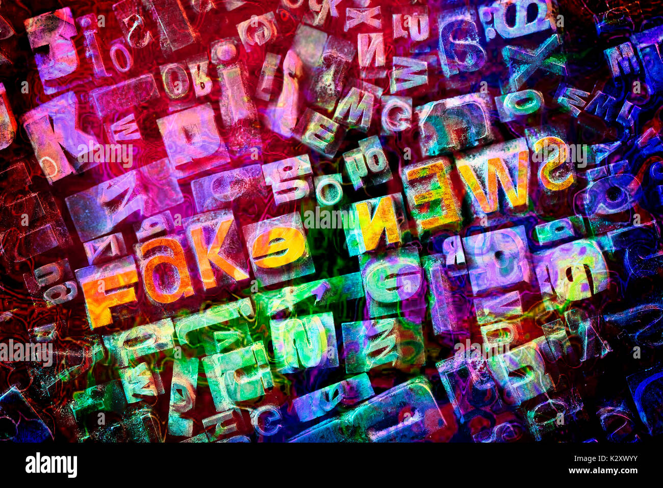 """Stroke """"Fake of news"""" from characters of lead"", ""Schriftzug """"Fake News"""" aus Bleilettern"" Stock Photo"