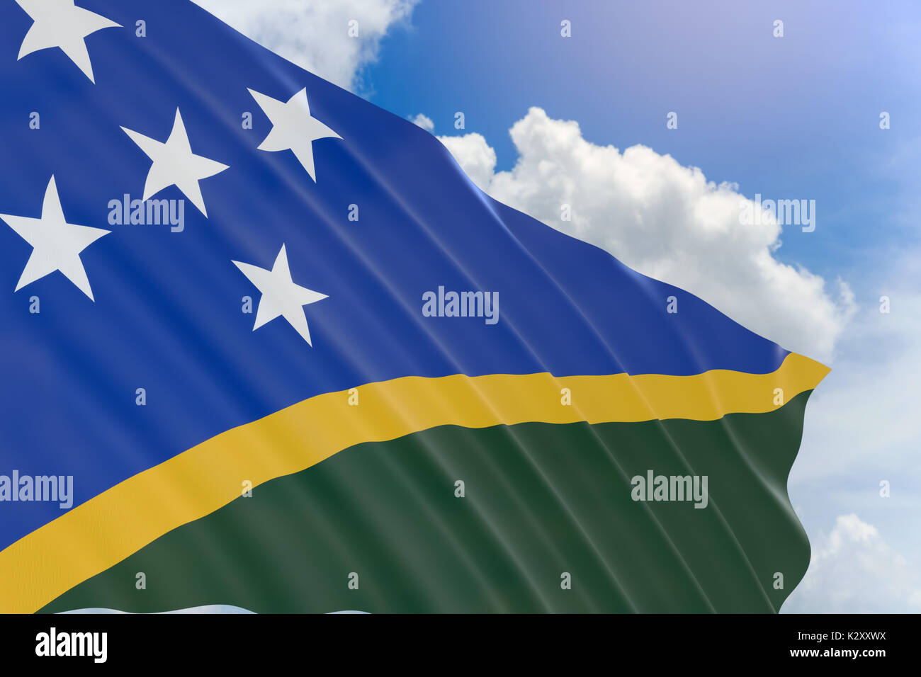 3D rendering of Solomon Islands flag waving on blue sky background, The Solomon Islands, a nation of hundreds of islands in the South Pacific country  - Stock Image