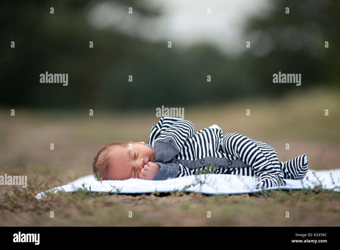 Newborn baby in stripy romper sleeps on blue coverlet on grass in park. Copy space top. - Stock Image