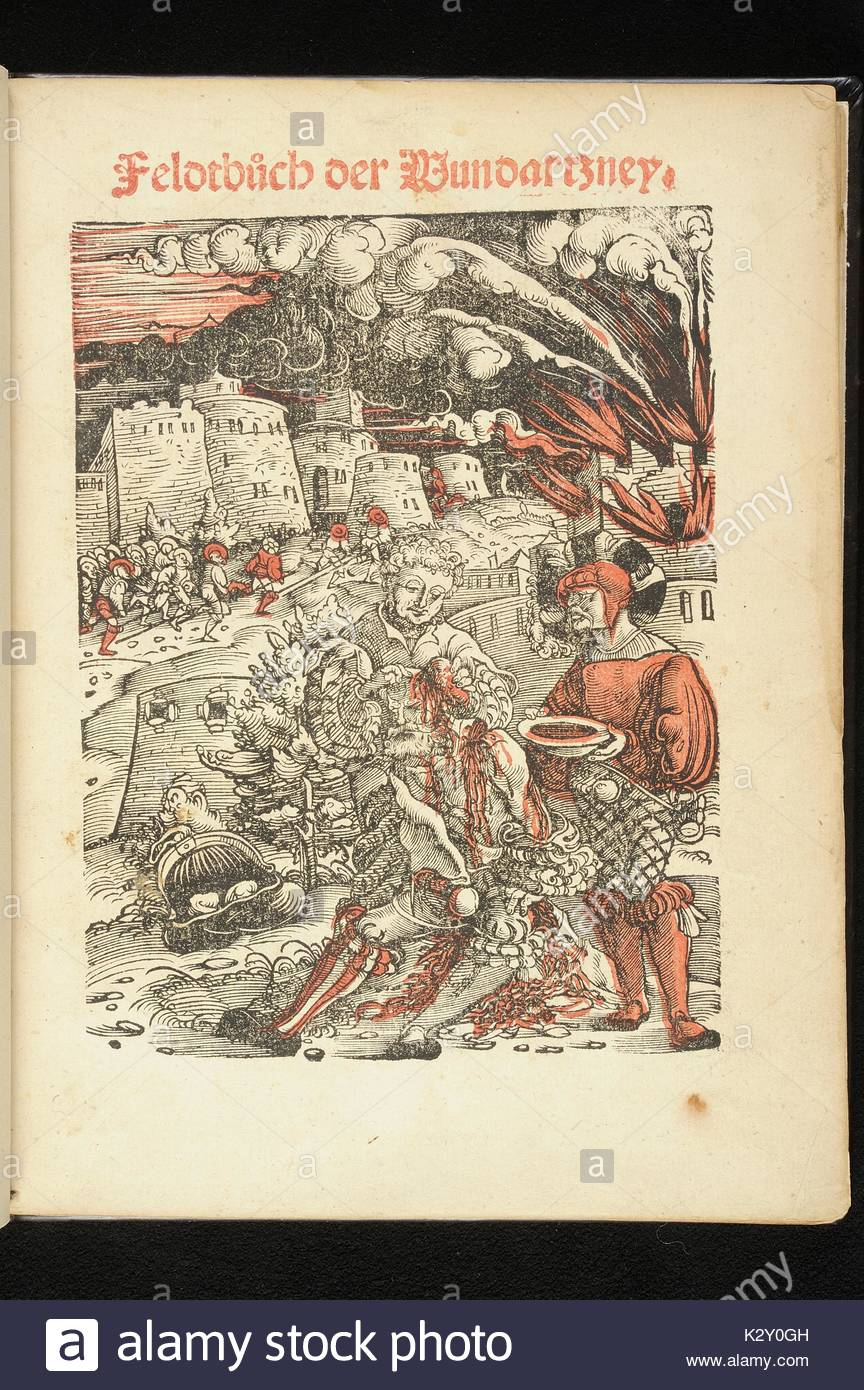 Photo of the title page from a rare edition of Hans Von Gersdorff's 'Feldtbxfcch der Wundartzney, ' cerca 1526, with the title printed in red and black and an illustration of a soldier being treated for a head wound, with a city in flames and rubble in the background, red shading throughout, on display at the George Peabody Library during the exhibit The Dawn of Neurosurgery, Baltimore, Maryland, 2013. - Stock Image