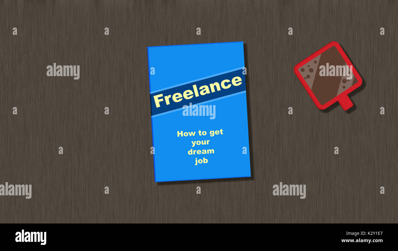 Freelance - How to get your dream job. Reading a book about freelancing with a red cup of coffee. - Stock Image