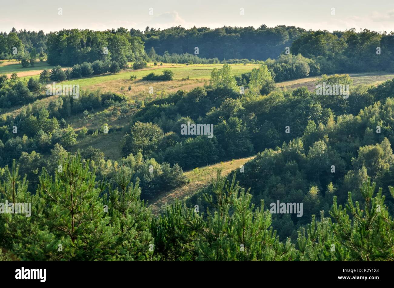Beautiful summer landscape. Beautiful green hills in the Jurassic valley. - Stock Image
