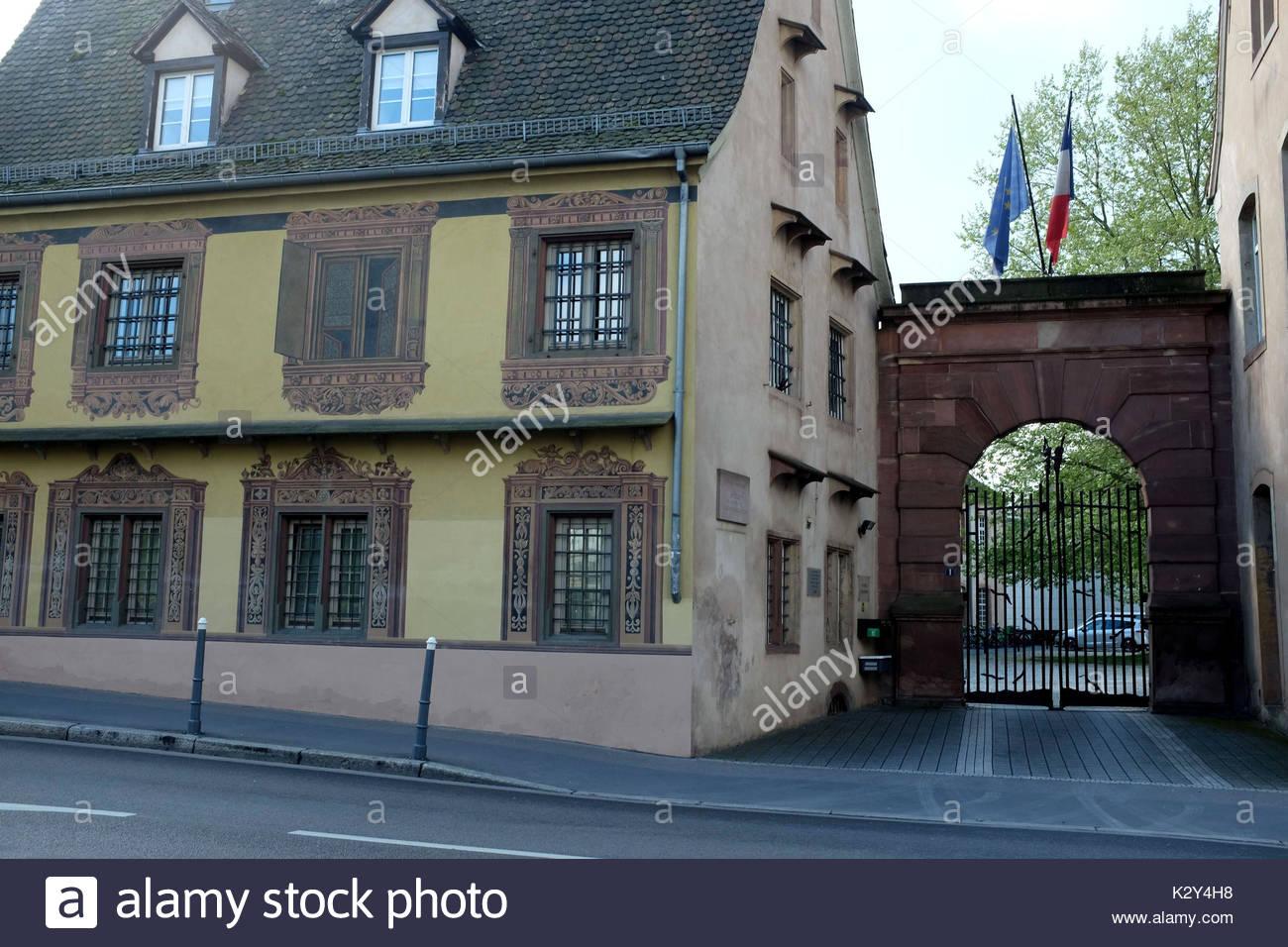 France, Alsace, Bas-Rhin, Strasbourg, l'entree de l'Ecole Nationale d'Administration, ena cree par Charle de Gaulle Stock Photo