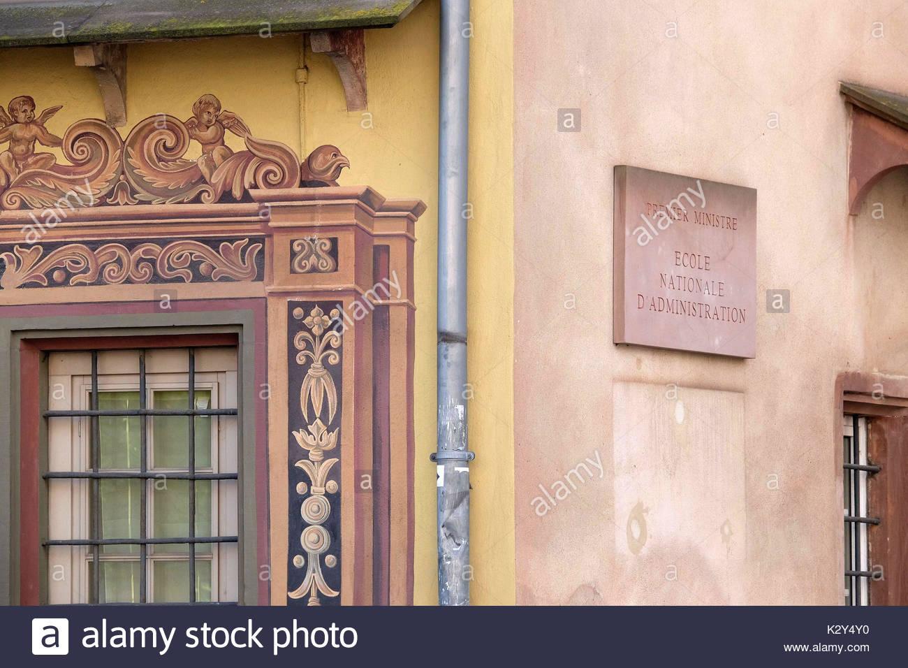France, Alsace, Bas-Rhin, Strasbourg, l'entree de l'Ecole Nationale d'Administration, ena cree par Charle de Gaulle en 1945 pour democratiser l'acces a la haute fonction publique de l'Etat *** Entrance of the Ecole Nationale d'Administration (National school of Administration), Strasbourg, Alsace, France - Stock Image
