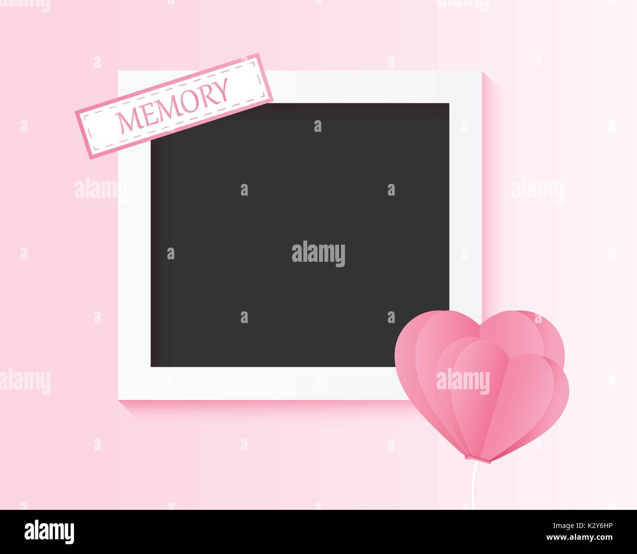 picture of the couple memory, photo frame with balloon heart valentine day , card invitation wedding lover younger style , vector illustration paper n - Stock Vector
