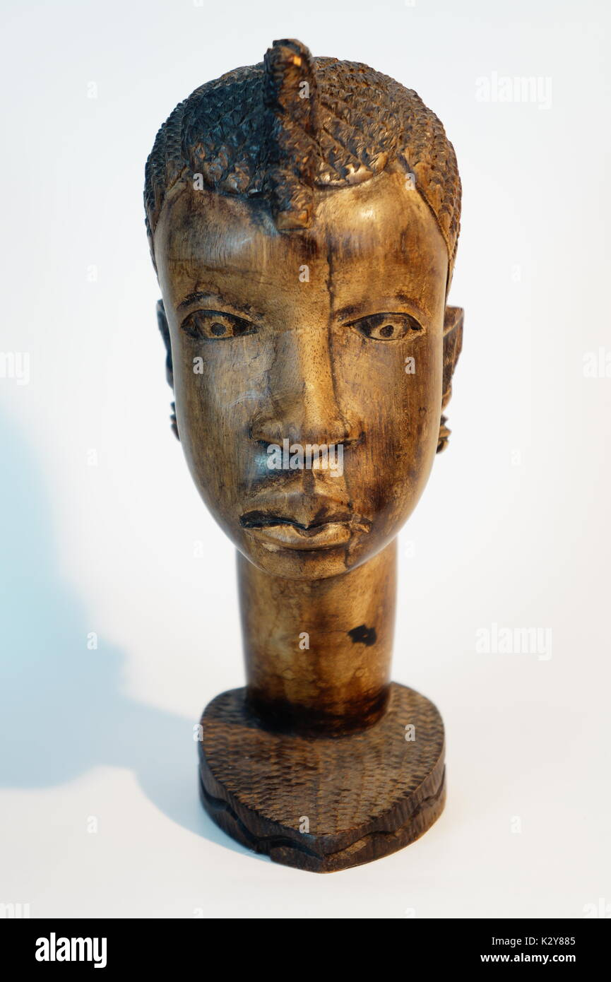 tribal carving vintage carved wooden bust African Head