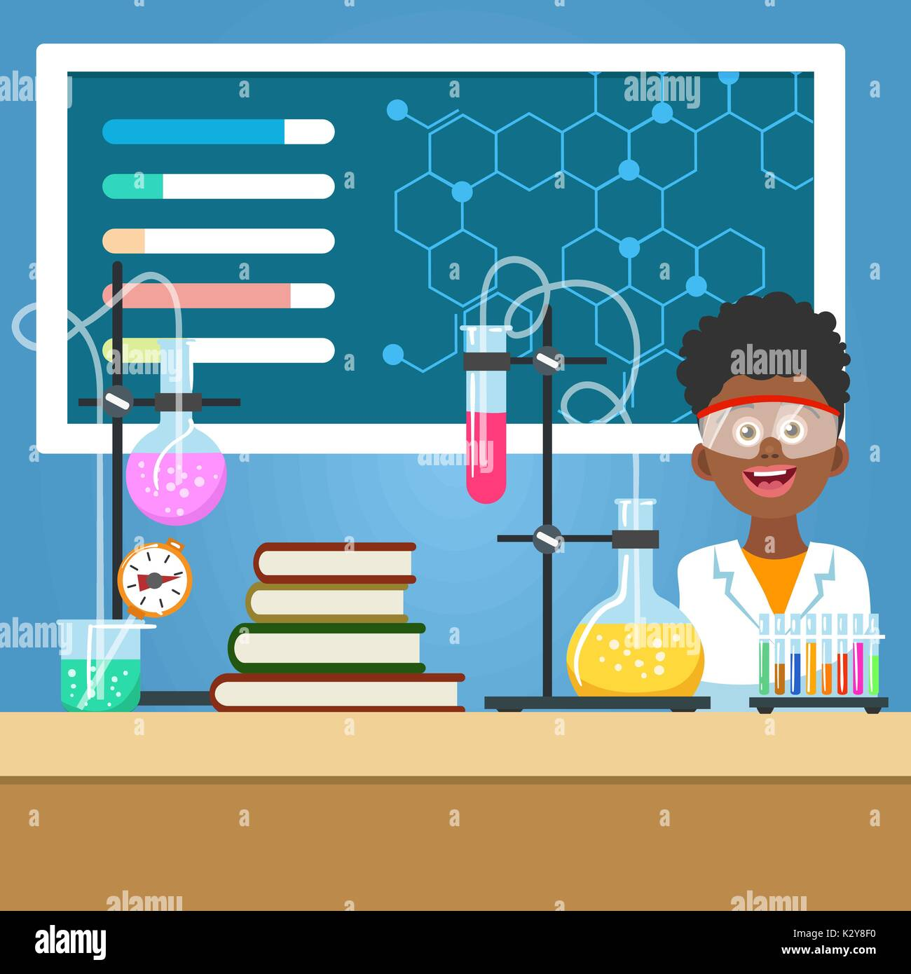 School boy with chemistry equipment Stock Vector