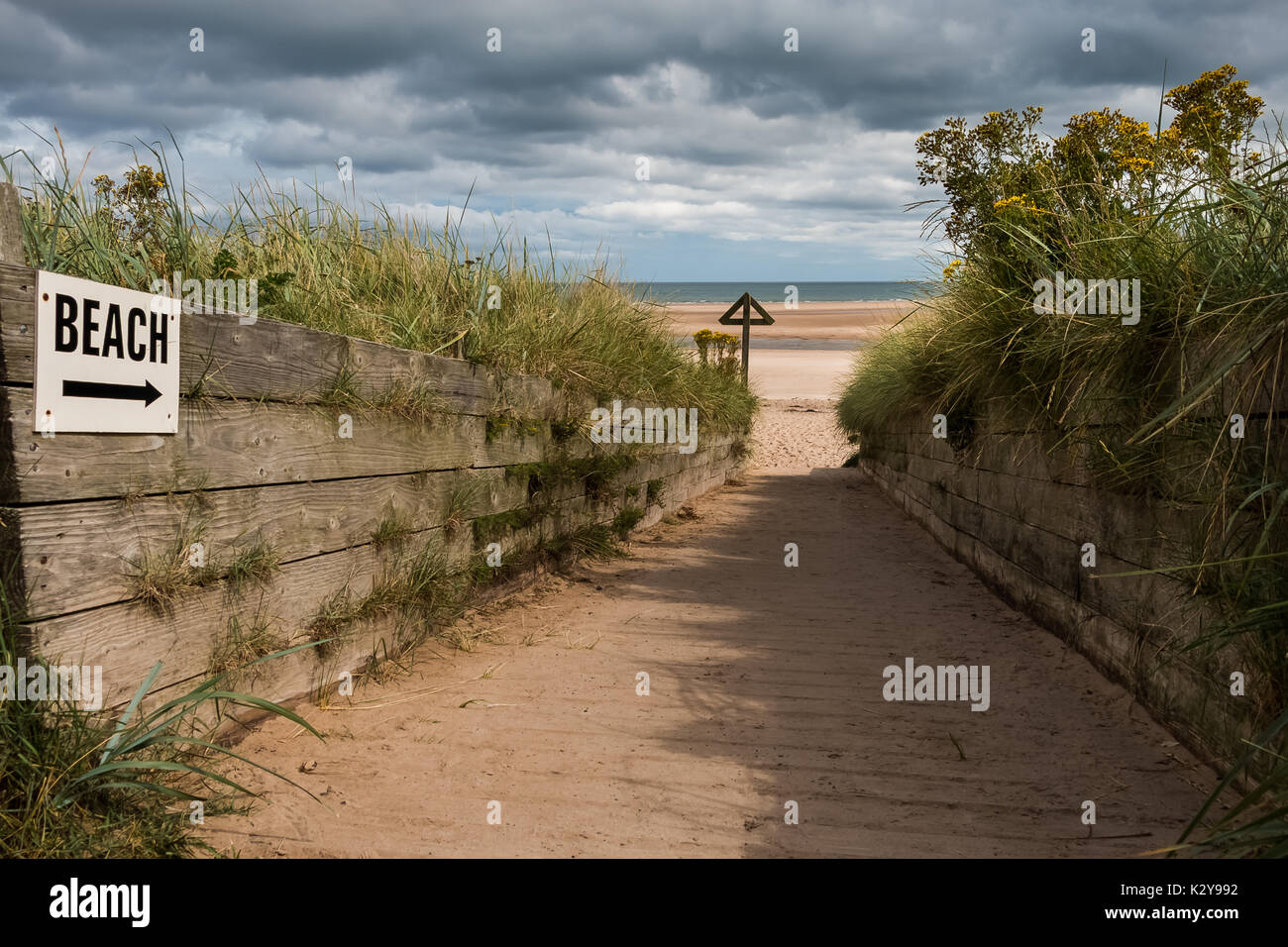 Access Track to Alnmouth Beach, Northumberland Coast, UK August 2017 - Stock Image