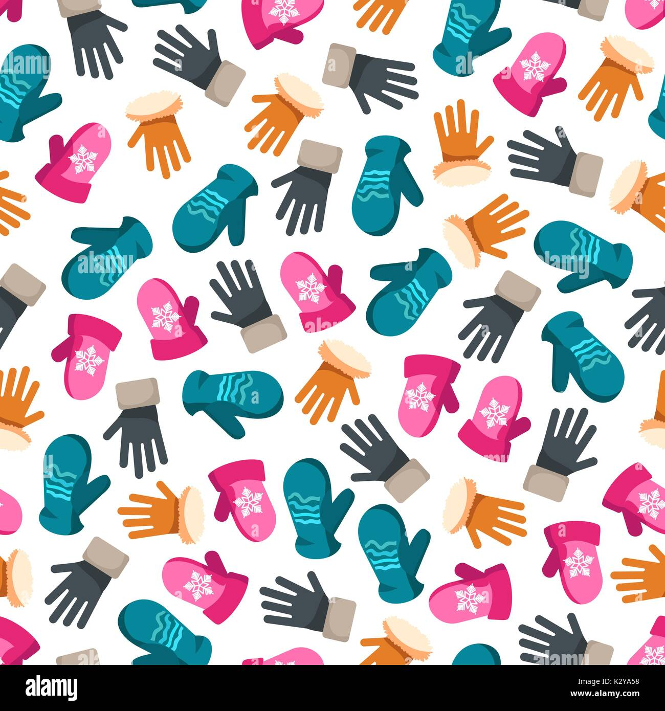 Colorful winter mittens seamless pattern - Stock Vector