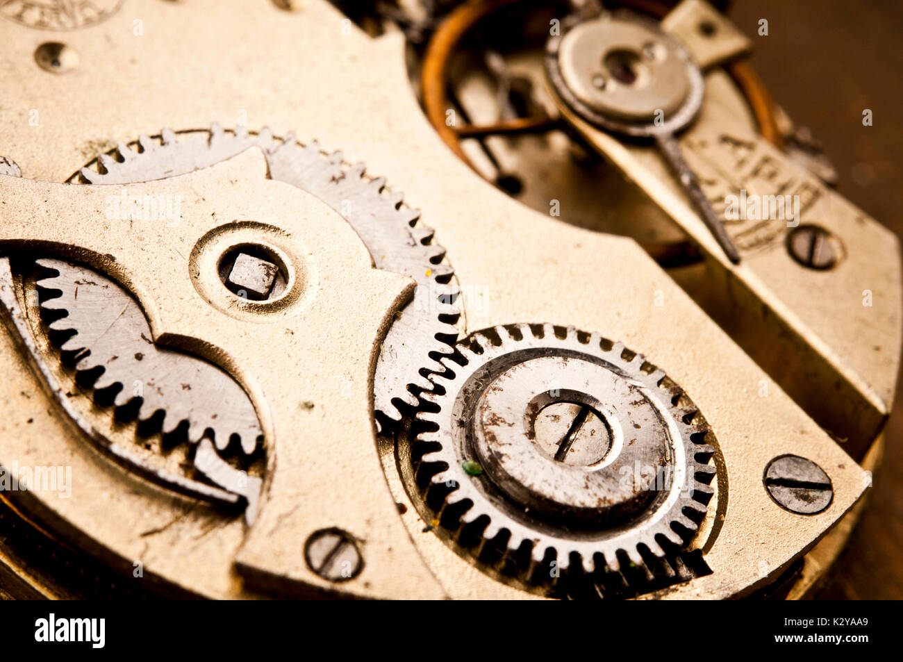 macro detail of the mechanism of a clock - Stock Image