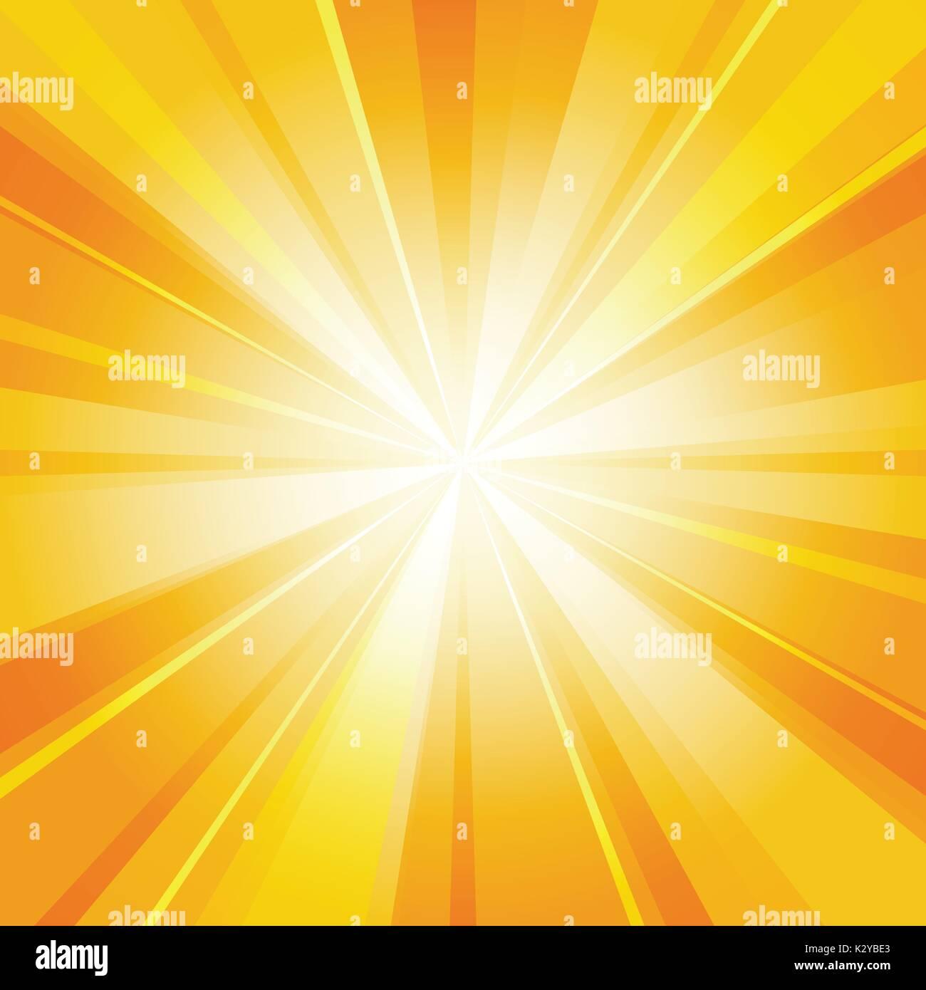 Shiny sun radiator vector background. Sunny rays radiating light yellow pattern - Stock Image