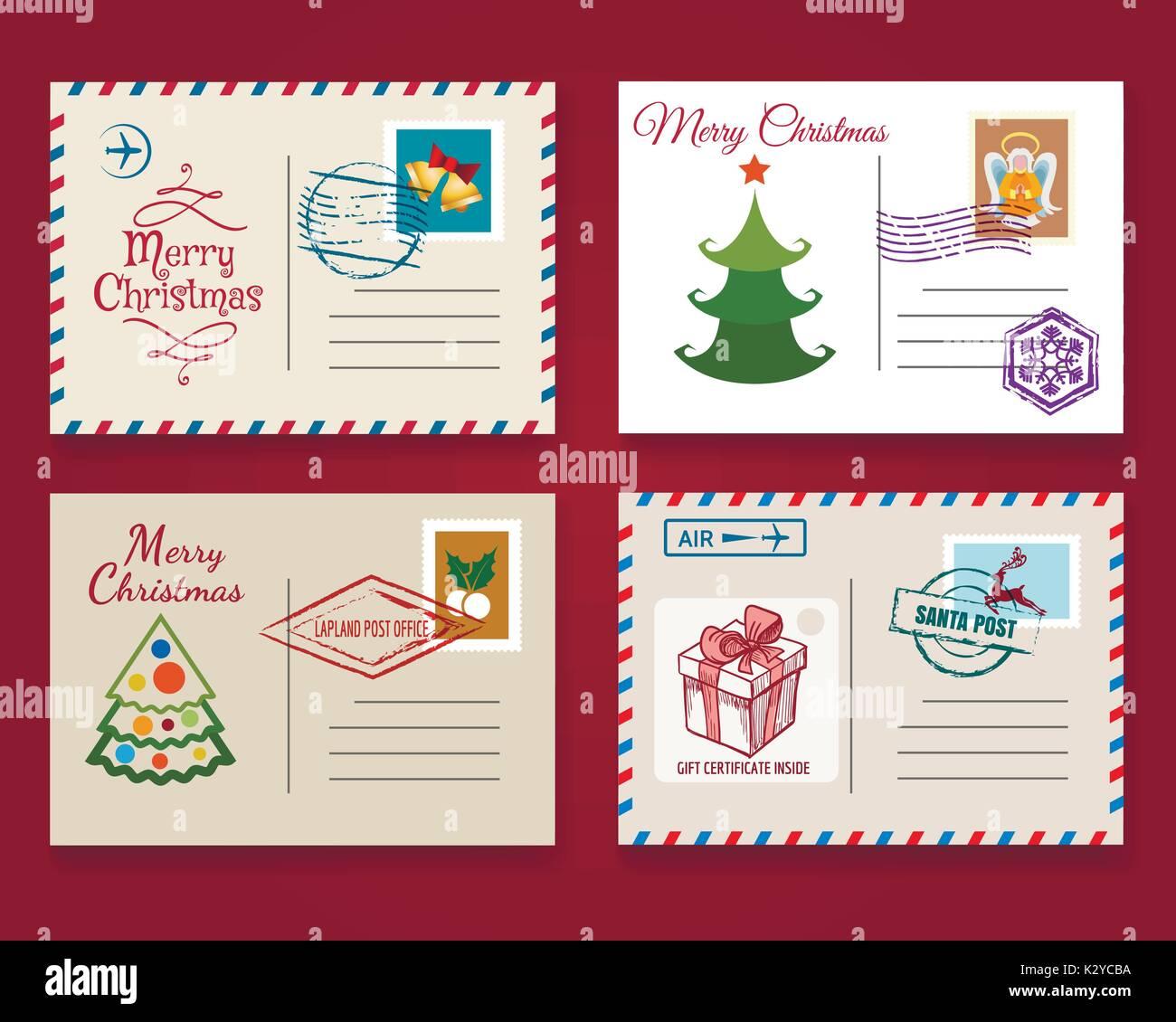 Xmas Postcard Template Set Vector Vintage Merry Christmas Holiday - Christmas postcard template