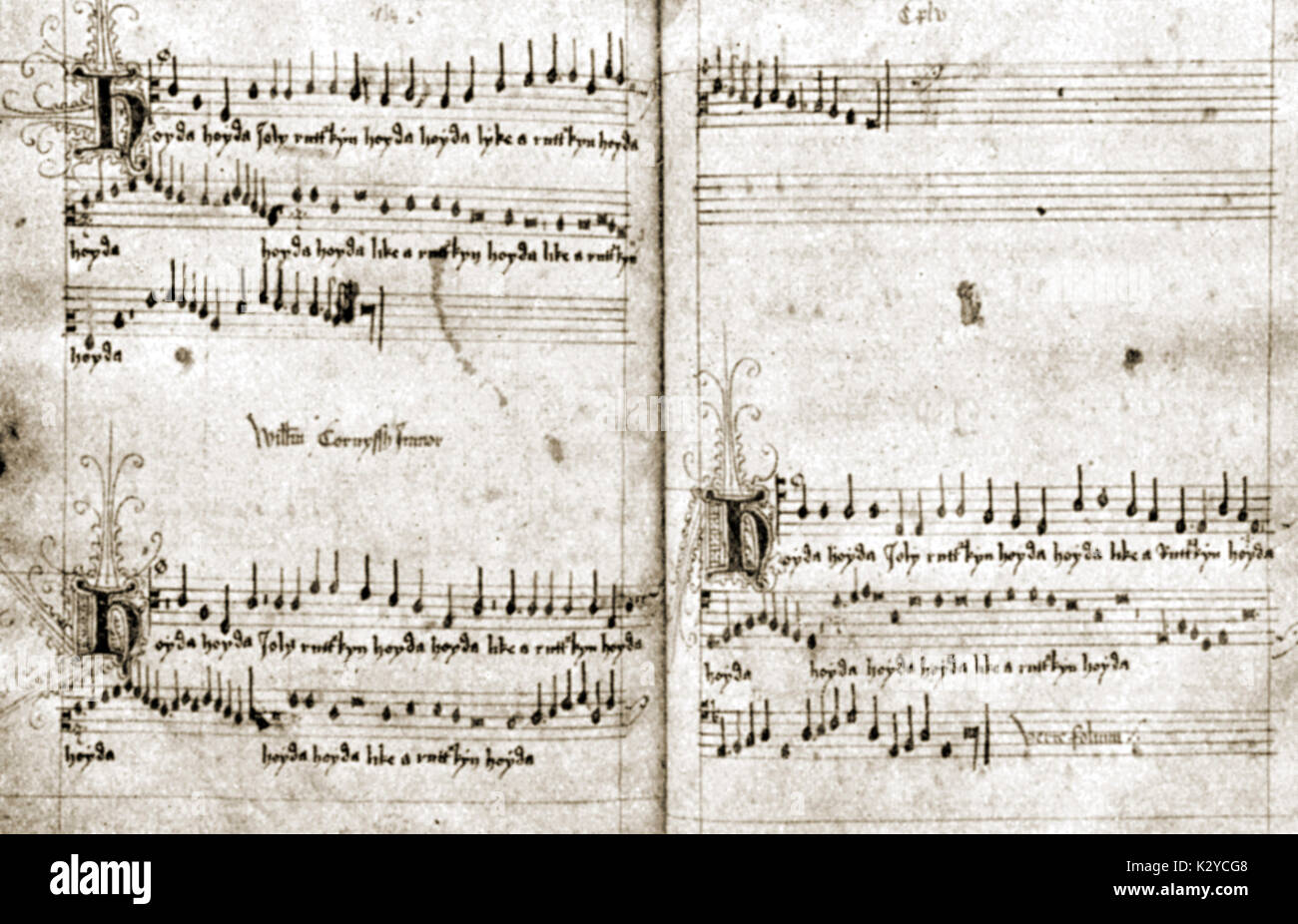 CORNYSH, William score for 3 part song - 'Hoyda Jolly Rutterkin' , c.1500, in mensural notation. English Composer, 1465-1523 - Stock Image
