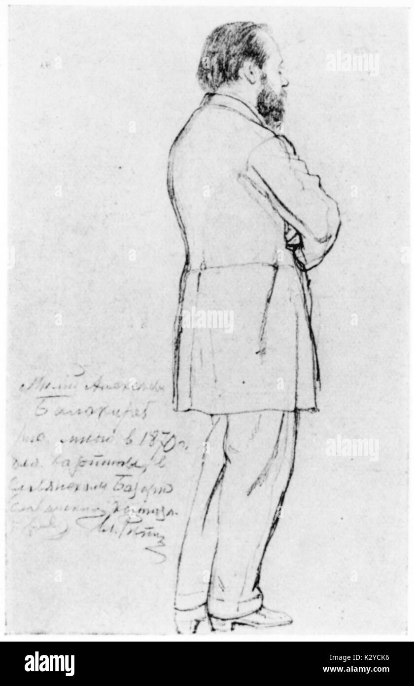 Mily Alexeyevich Balakirev - drawing of Russian composer by Ilya Repin, 1870. Milij Alekseevic Balakirev, 2 January  1837 - 29  May 1910. Ilyá Yefímovich Répin,  1844-1930, Russian painter and sculptor of the Peredvizhniki artistic school. - Stock Image