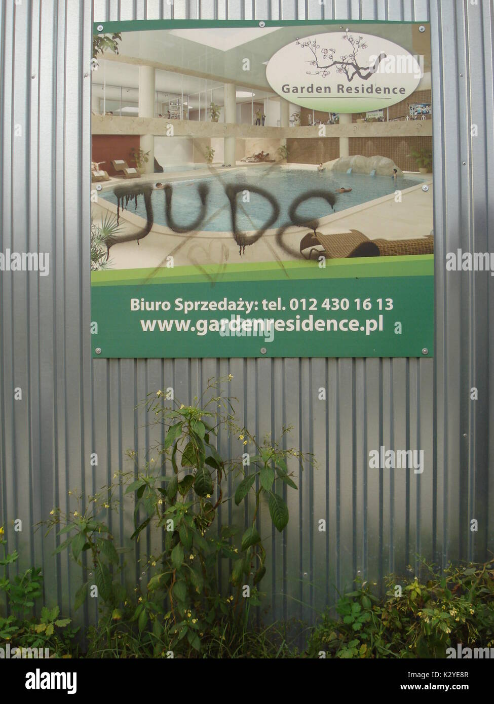 Antisemitic insult on an advertising poster in Kracow (Poland) - Stock Image