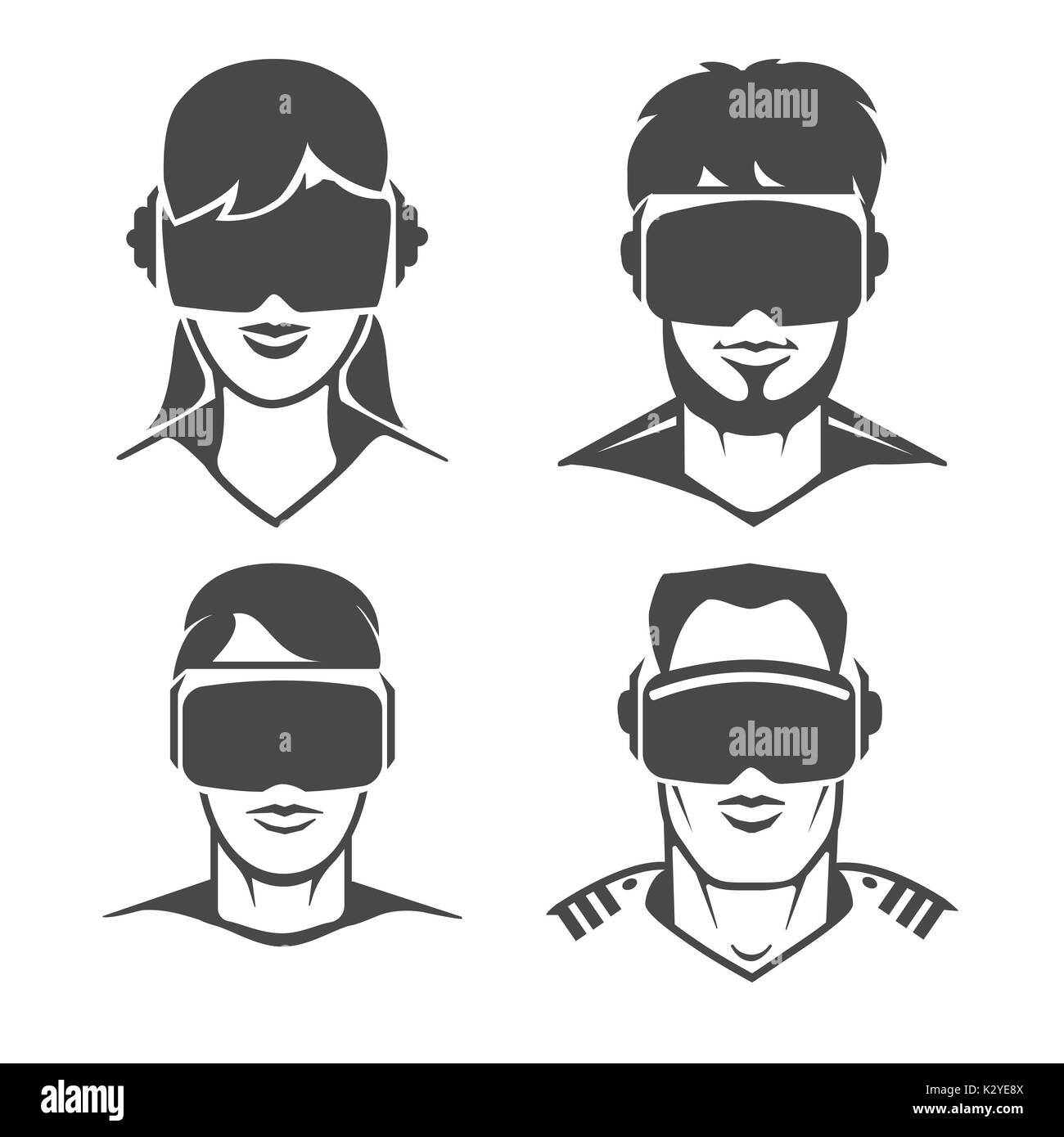 f091a0af28b Human heads with VR headset icons. Virtual reality glasses or oculus goggles  signs