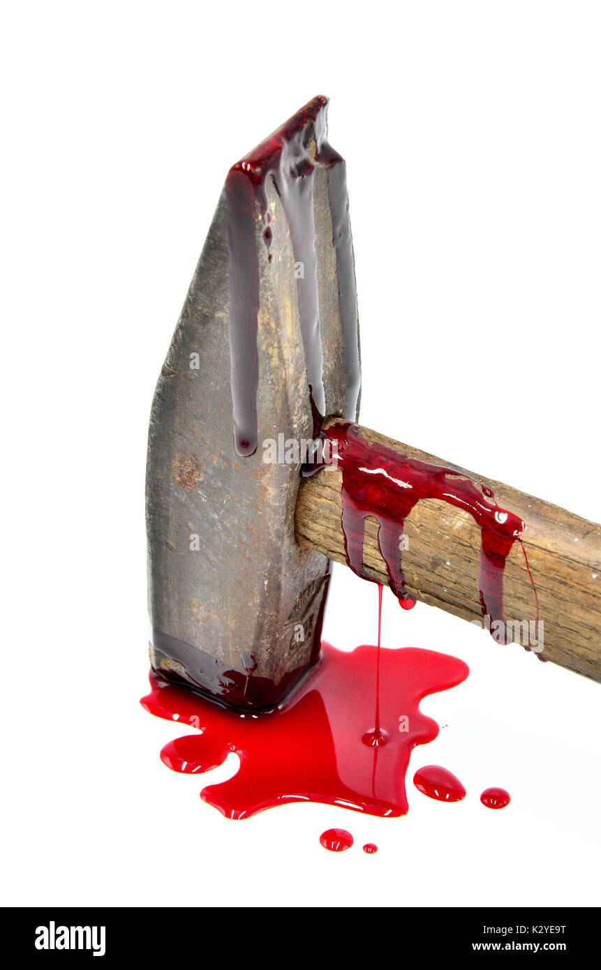 hammer with blood close up on white background - Stock Image