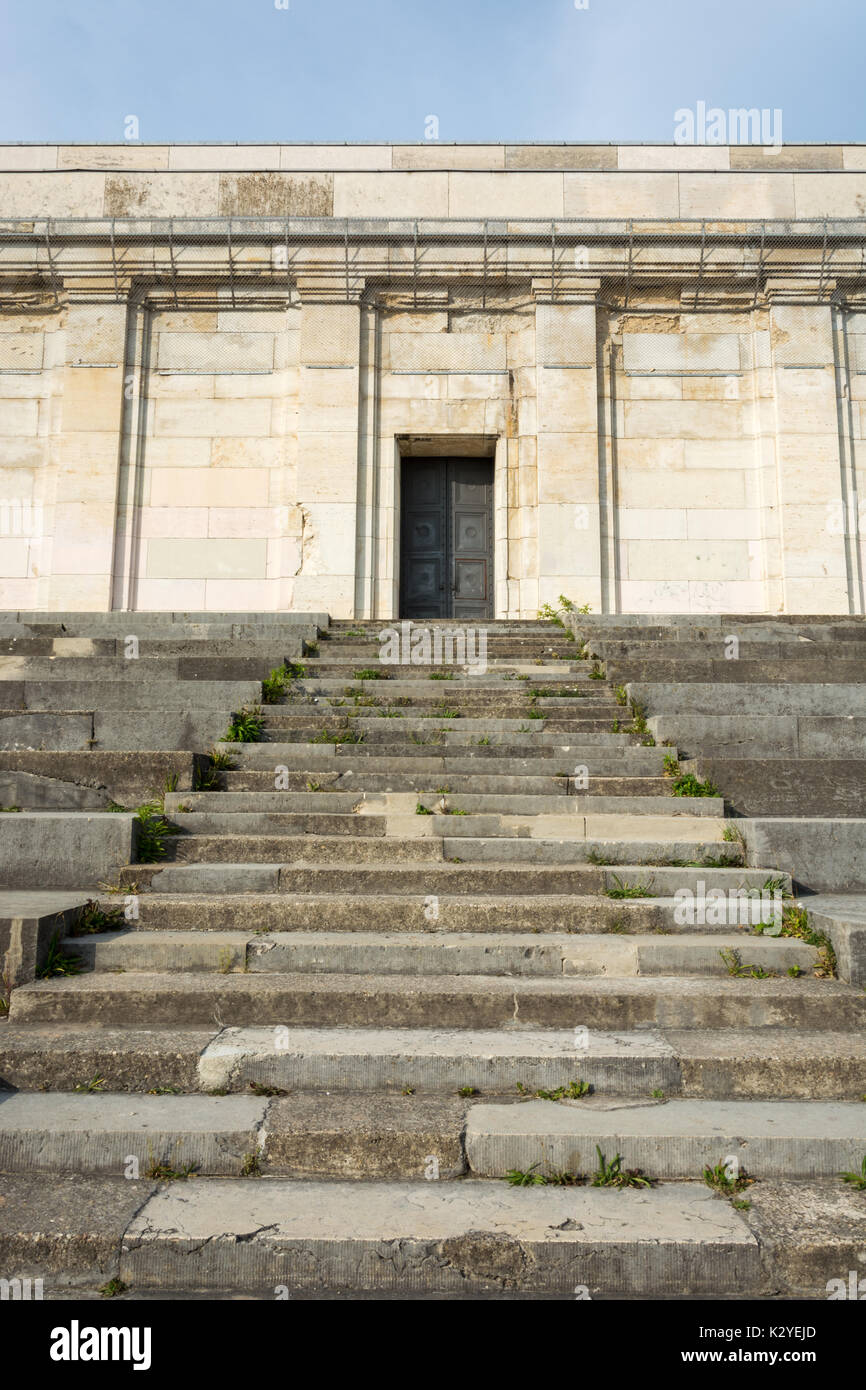 Stairs and door at the 'Tribuene' on the 'Zeppelinfeld' in Nuremberg from below - Stock Image