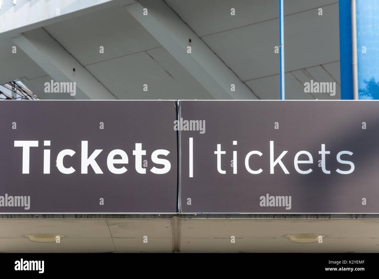 Tickets office at the Nuremberg football stadium isolated - Stock Image
