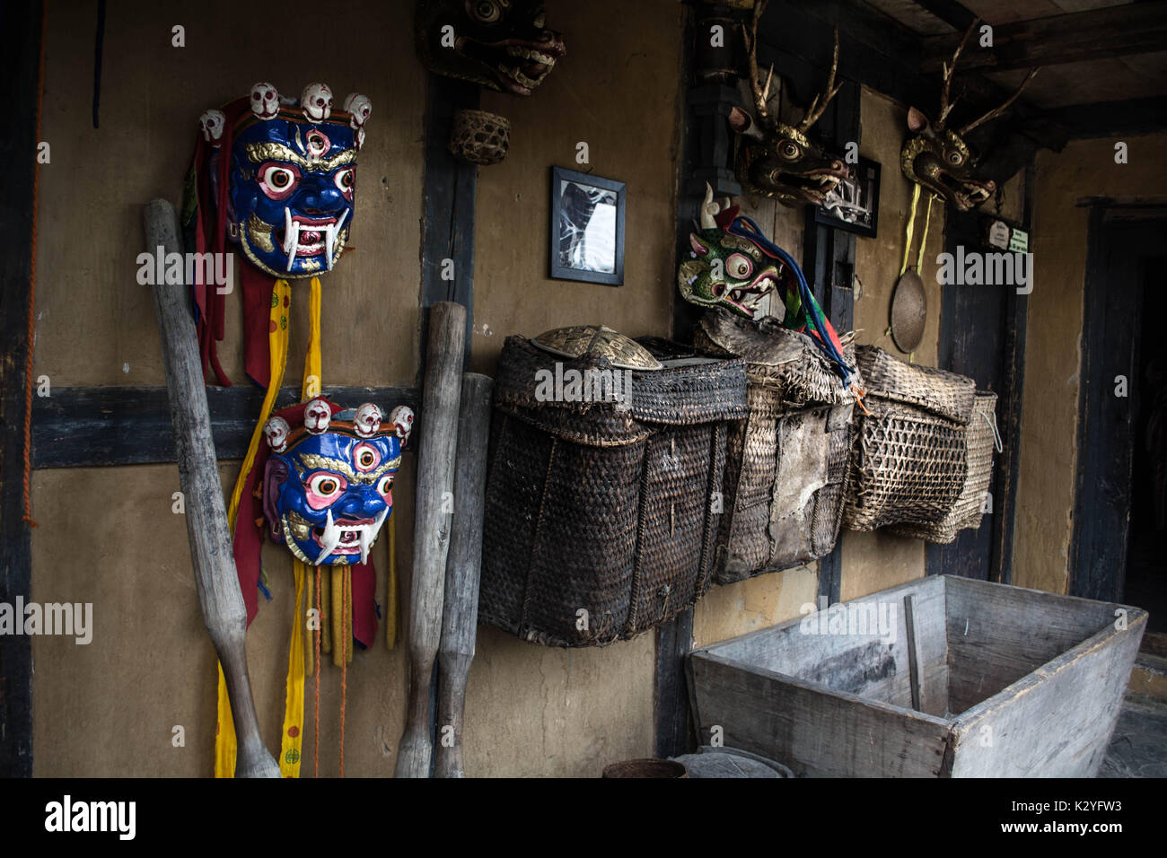 Bhutanese Traditional Home Interiors - Stock Image