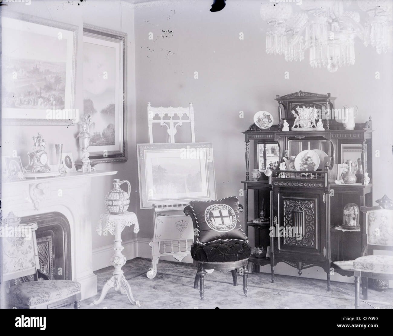 Antique c1910 photograph, fancy room with a prominent pillow from ...