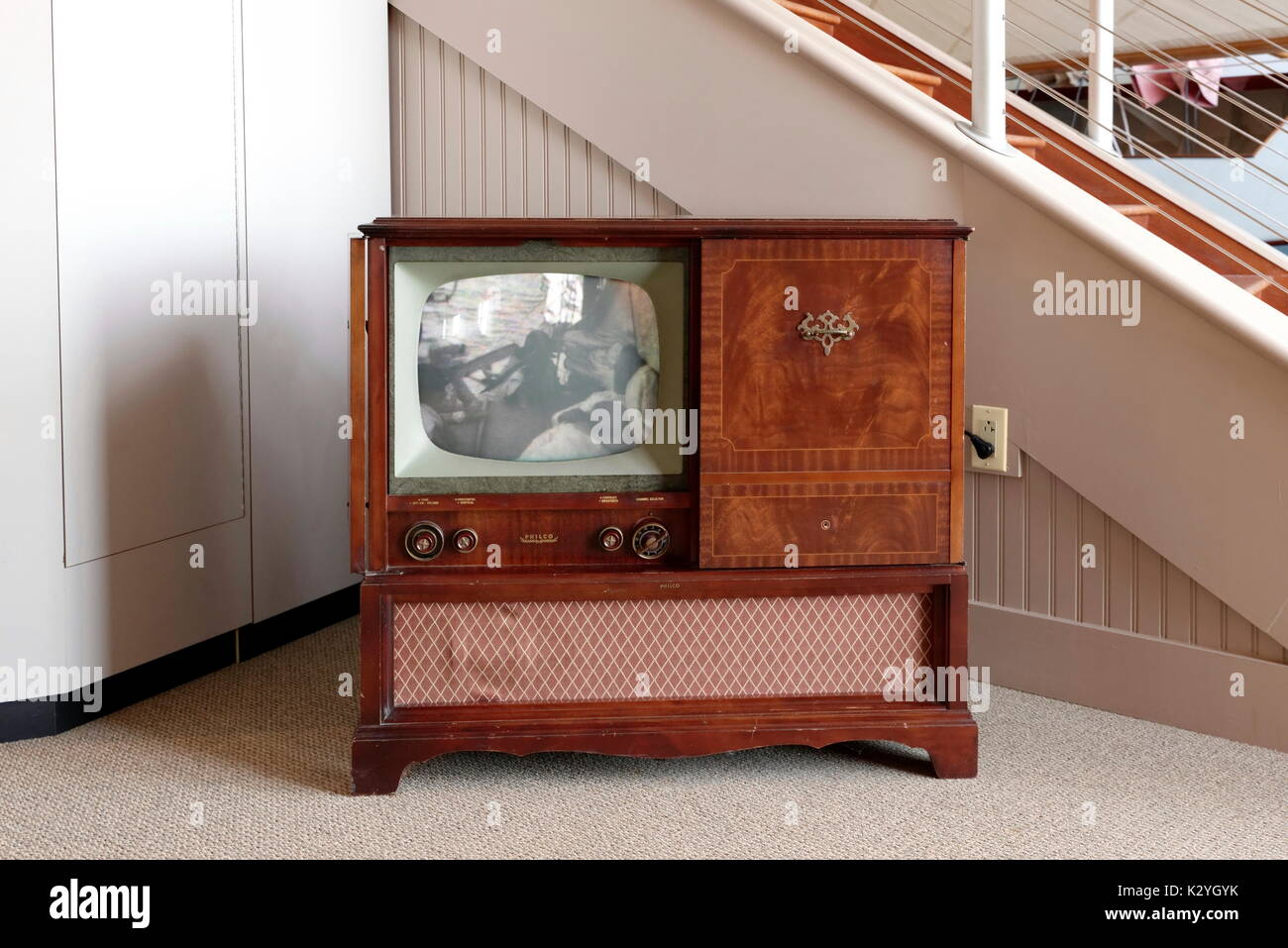 Antique Philco television in wooden console. - Stock Image
