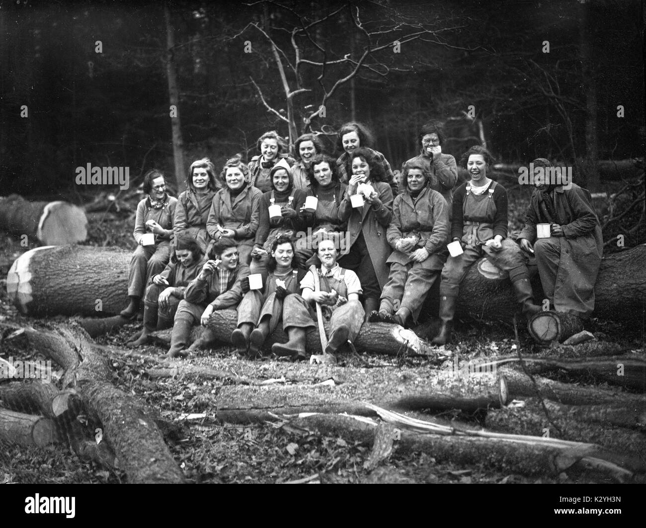 Women's Land Army or Land Girls of Timber Corps doing forestry work in southern England during World War Two - Stock Image