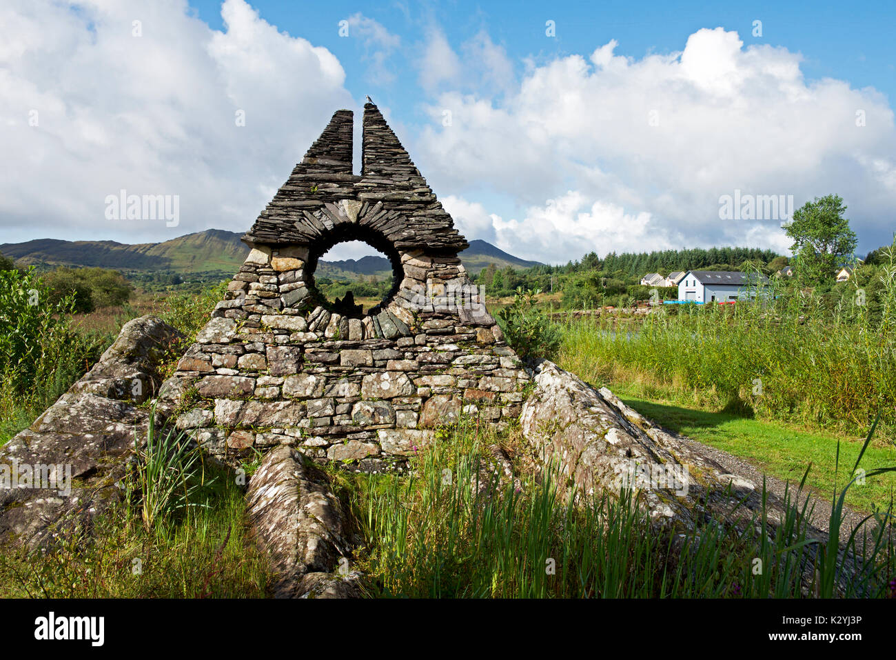 Artworks in stone - The way the fairies went - Sneem,Iveragh Peninsula,co Kerry,Southern Ireland - Stock Image