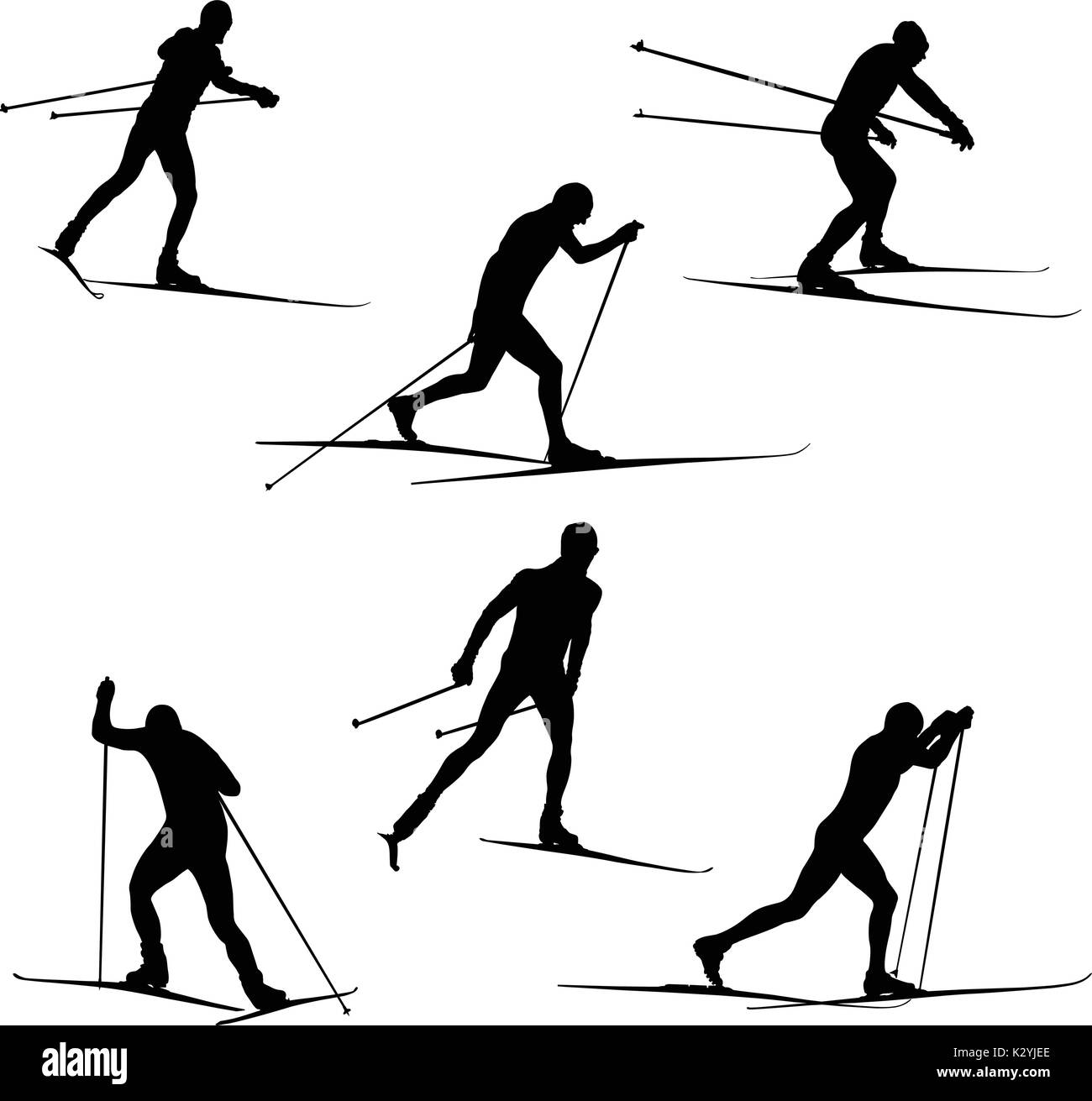 Set skiing athletes skiers vector illustration - Stock Vector