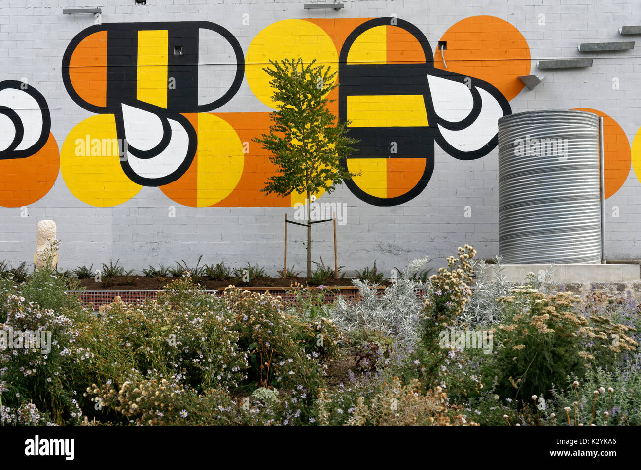 Fifth and Pine pop-up park and pollinator project with bee habitat, Vancouver, BC, Canada - Stock Image