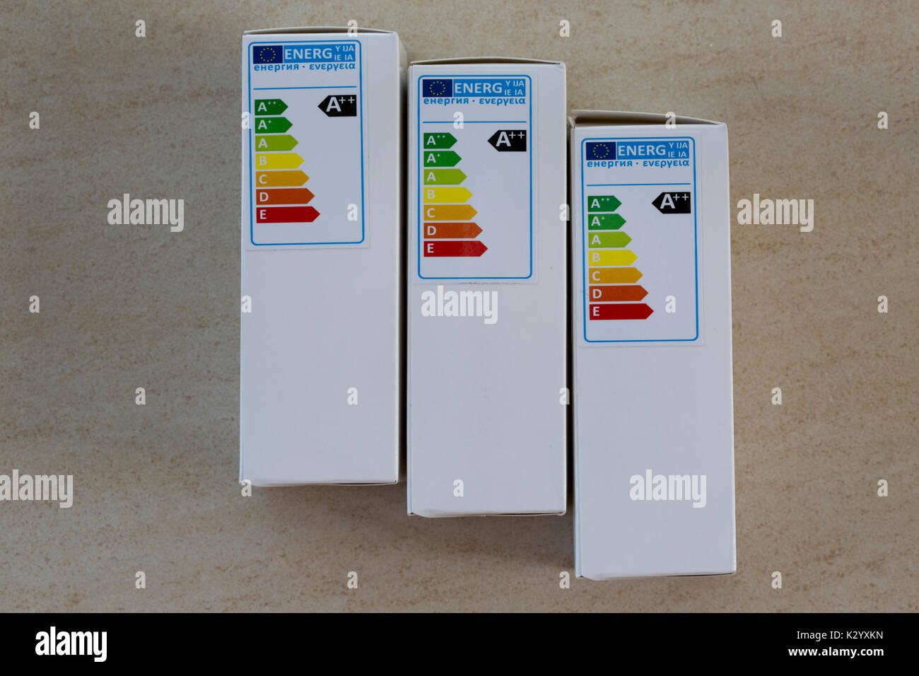 A++ energy efficiency label on LED lamp box UK - Stock Image