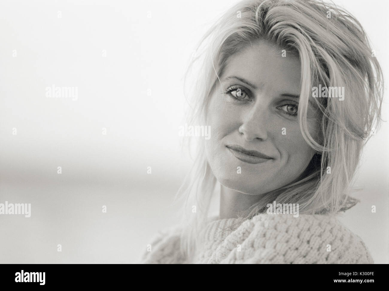 Portrait of a 30s adult woman, black and white. - Stock Image
