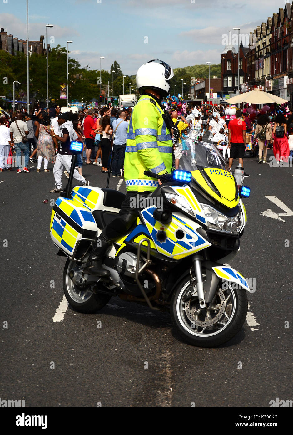 Police motorcycle at incident - Stock Image