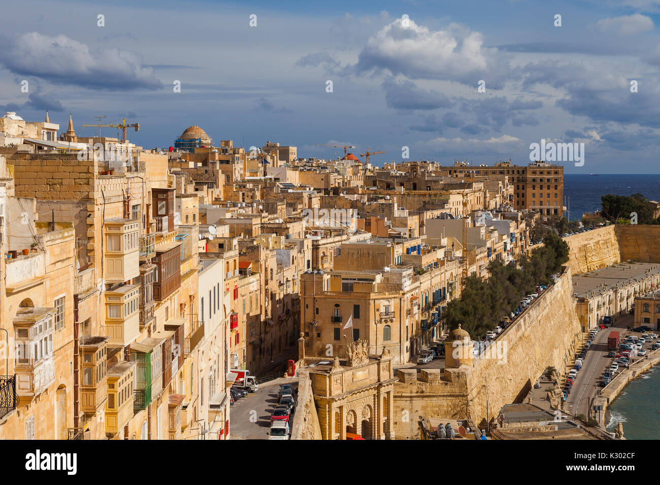 Malta - Aerial view of the ancient city Valletta on a sunny day with blue sky - Stock Image