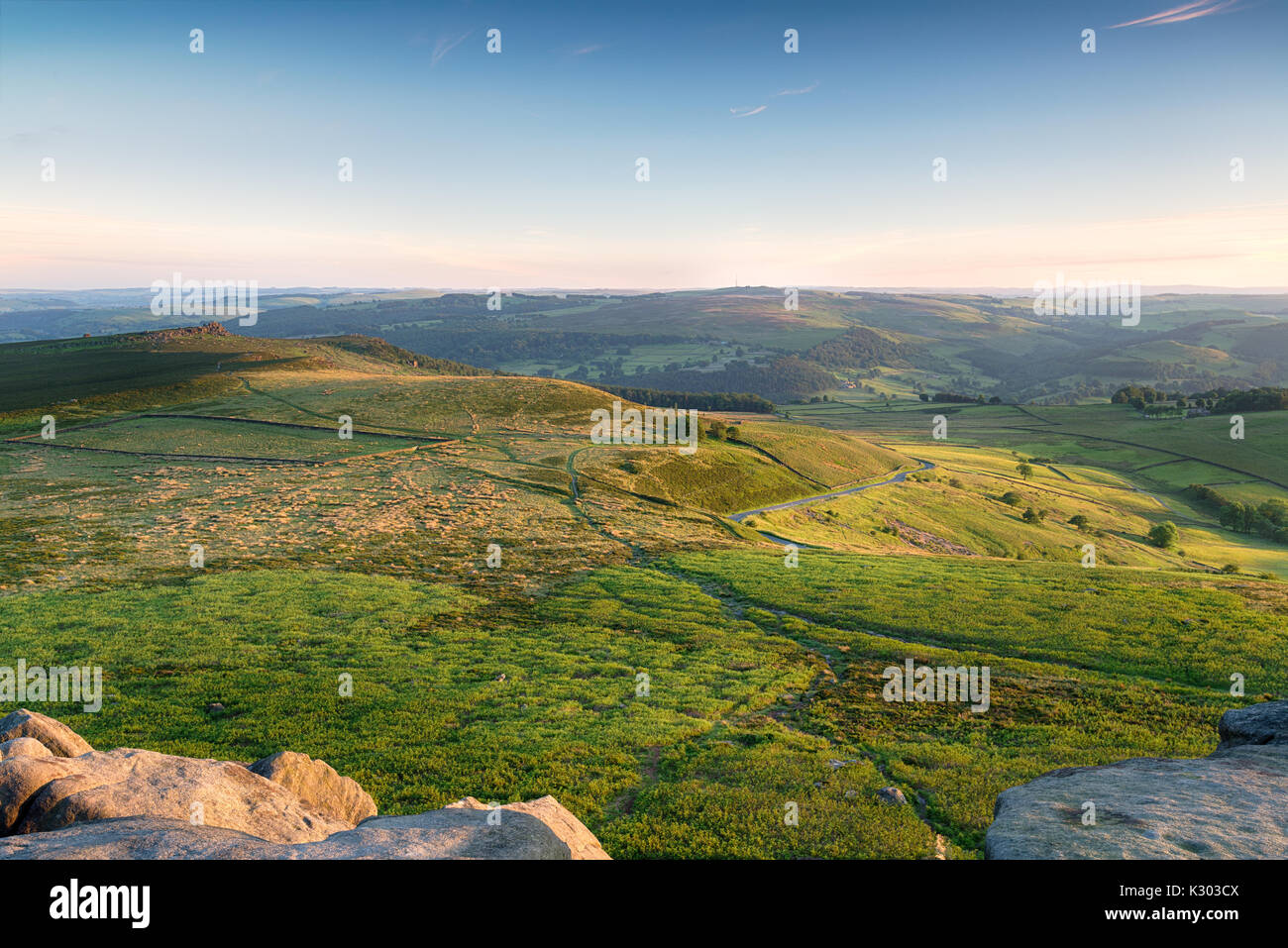 The view from Higger Tor in the Peak District national park - Stock Image
