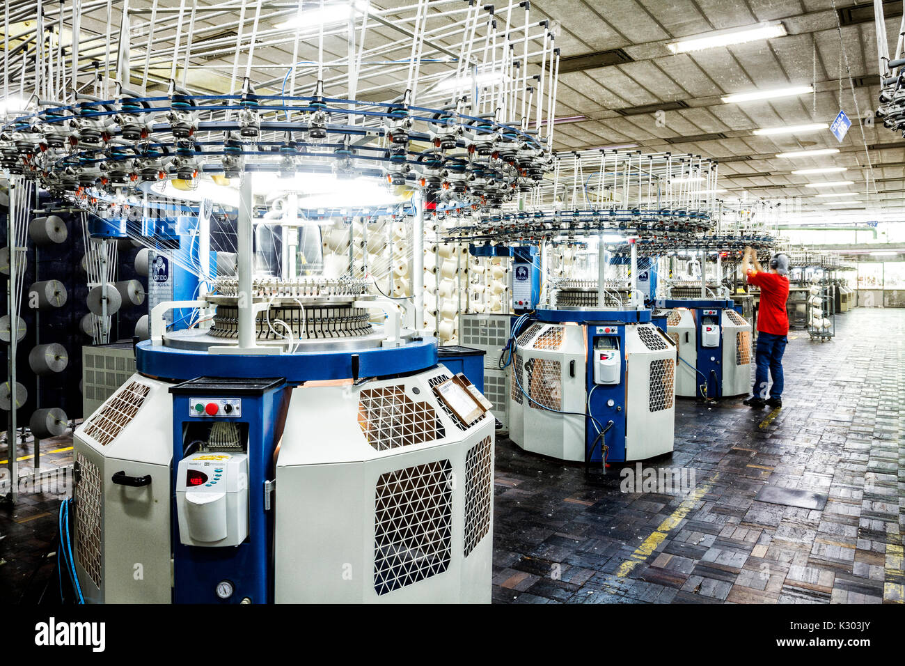 Spinning machines in a Brazilian textile industry  Blumenau, Santa