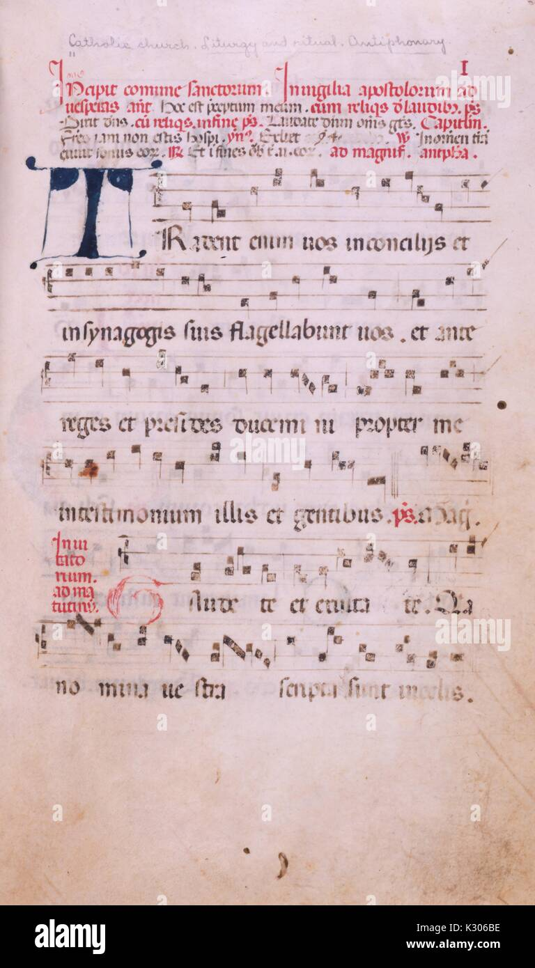 Illuminated manuscript page from 'Incipit comune sanctorum In uigilia Apostolorum ad uesperas' Latin antiphonary of the 15th and 16th centuries with music notes, 1500. - Stock Image