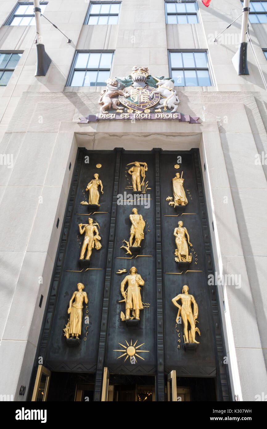 Industries of the British Empire, Rockefeller Center British Empire Building, 620 Fifth Avenue, NYC - Stock Image