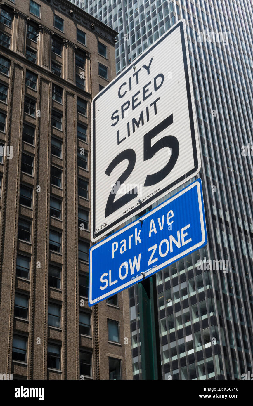 City Speed Limit 25 Sign on Park Avenue, NYC, USA - Stock Image