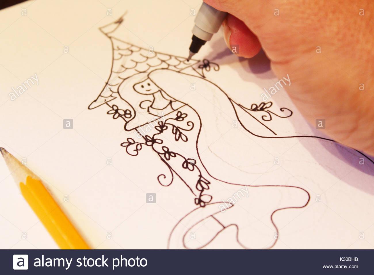 Rapunzel Drawing Sketch Stock Photo Alamy