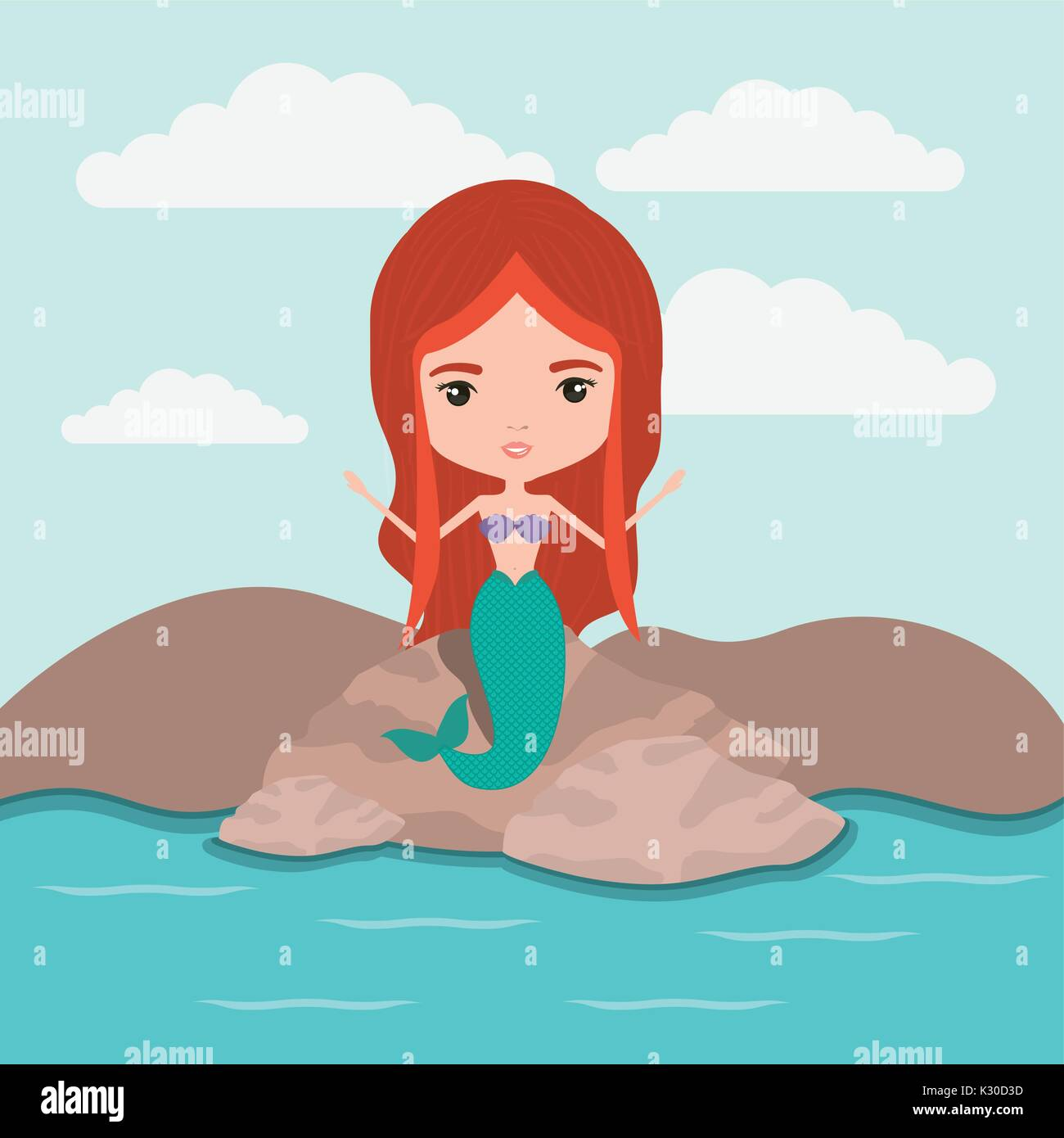 mermaid fantastic character in a rock sea landscape background Stock Vector