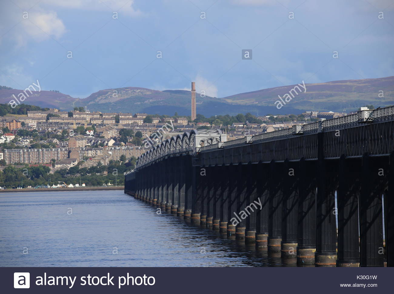 Tay Rail Bridge and Cox's Stack Dundee Scotland  August 2017 - Stock Image