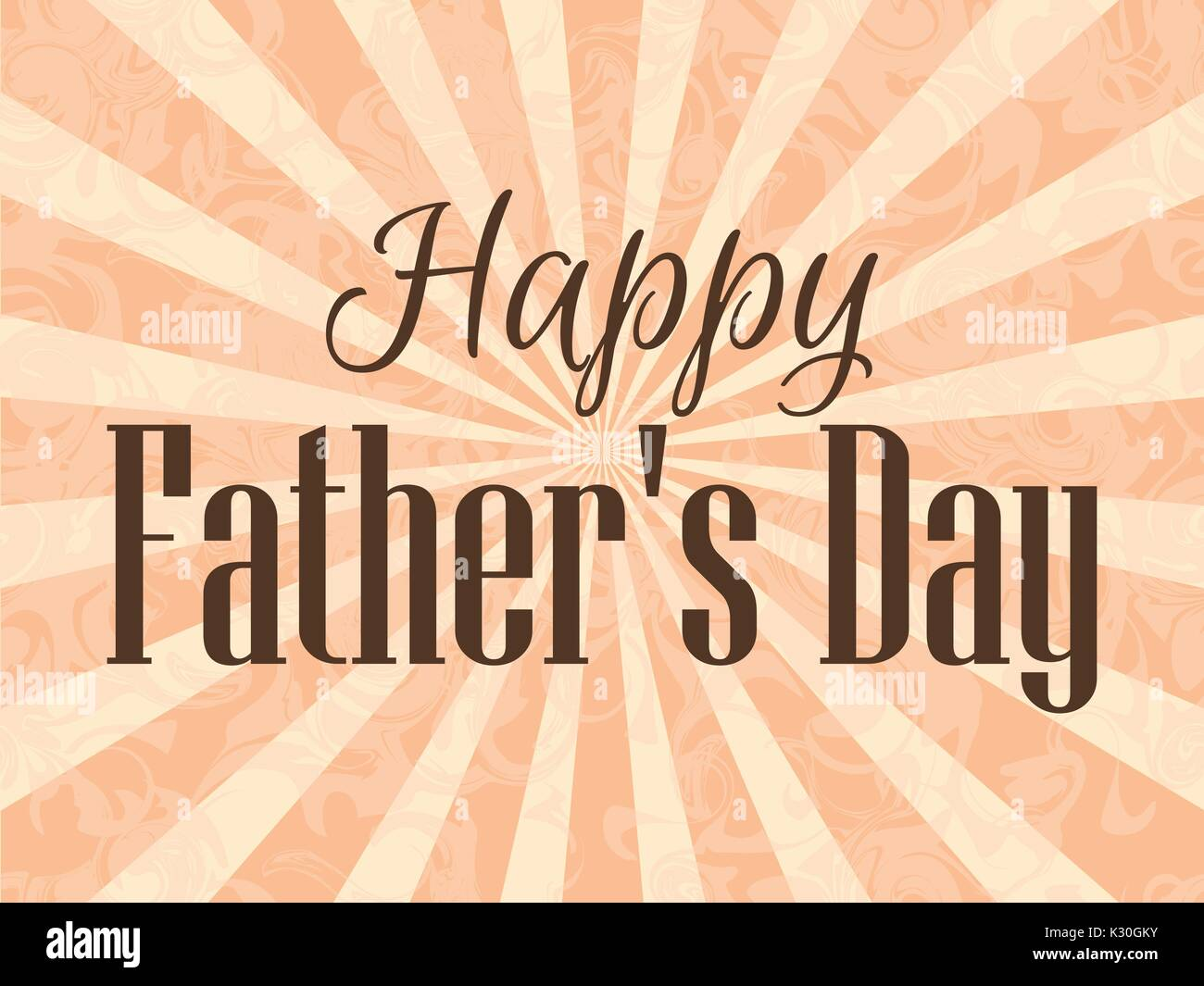 Happy Father's Day. A festive poster with rays. Vector illustration Stock Vector